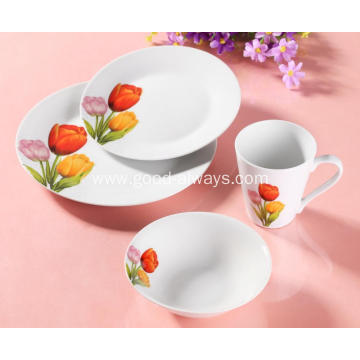 16 Piece Floral Decal Porcelain Dinner Set